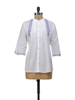 White & Blue Pleated Top - URBAN RELIGION