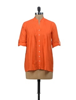 Zesty Orange Pintucked Top - URBAN RELIGION