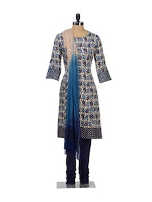 Leaf Print Churidar Suit - KILOL