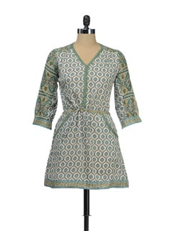 Printed Kurti With A Drawstring Belt - KILOL