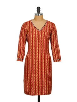 Red & Brown Striped Kurta - SSV
