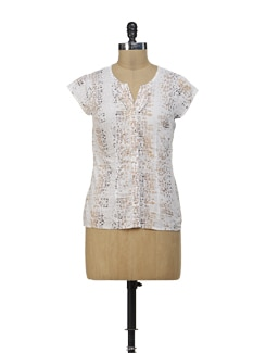 Summer Love White Printed Top - Osia Italia