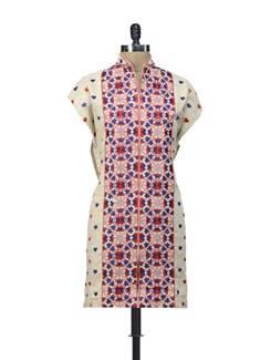 Beige Semi Stiched Kurti With Phulkari Embroidery - Home Of Impression