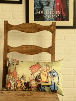 Royal Procession Digital Print Cushion Cover - Ambbi Collections