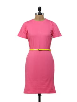 Trendy Pink T-shirt Dress - Miss Chase