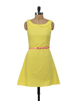 Yellow Peter Pan Collar Dress - Miss Chase