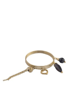 Gold Bangles With Dazzling Black Charms - Blend Fashion Accessories