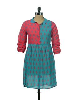 Lotus Print Dress With Peter Pan Collar - NUN