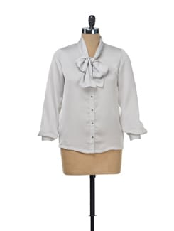 Grey Satin Shirt With A Tie Up Scarf - NUN