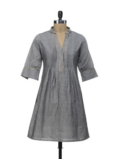 Grey Pleated Kurta - Morpunc