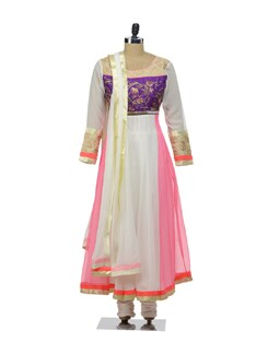 Designer Party Wear Suit With Neon Brights-Pink And White - Morpunc