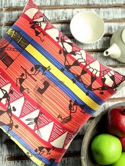 Dancing Warli Cushion Cover - The Elephant Company