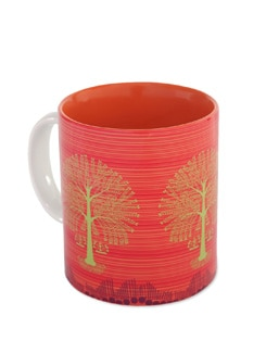 Orange Ceramic Mug Tree Warli - The Elephant Company