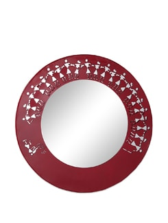 Red Metal Wall Mirror Warli - The Elephant Company
