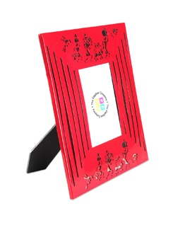 Red Photo Frame Modern Warli - The Elephant Company
