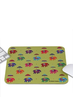 Mousepad Flying Elephants Lime Green - The Elephant Company