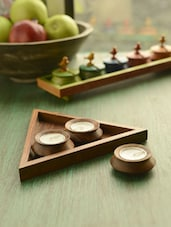 Sheesham Wood Triangle Tea Light Set Of 3 - ExclusiveLane