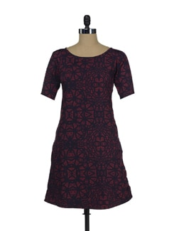 Wine & Navy Shift Dress - Thegudlook