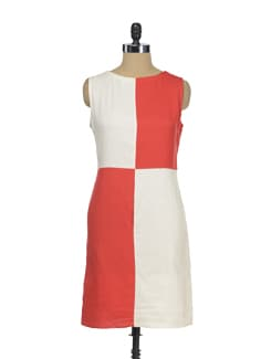 Blocked Red And Cream Dress - I KNOW By Timsy & Siddhartha