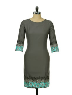 Fitted Grey Dress With Printed Green Hem - I KNOW By Timsy & Siddhartha