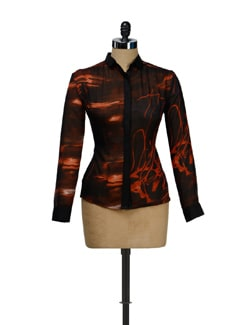 Black Orange Abstract Print Sheer Shirt - I KNOW By Timsy & Siddhartha