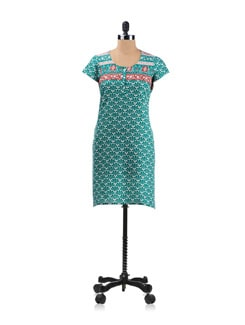 Green, White And Red Printed Kurta - Aurelia