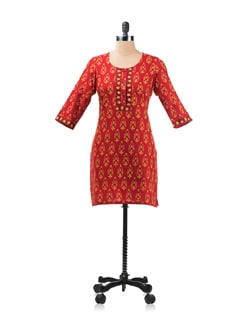 Red, Yellow And Black Printed Kurta - Aurelia
