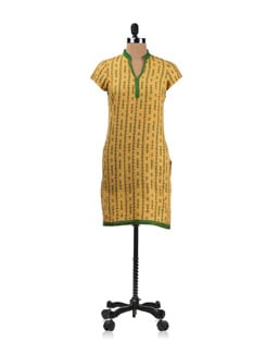 Yellow And Green Printed Kurta - Aurelia
