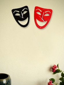 Black And Red Twin Face Wall Clock - Zeeshaan