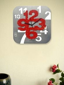 Grey And Red Square Wall Clock - Zeeshaan