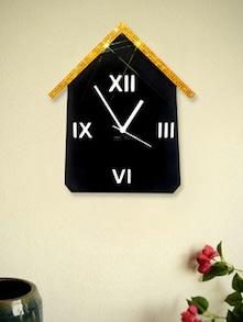 Black And Golden Hut Wall Clock - Zeeshaan