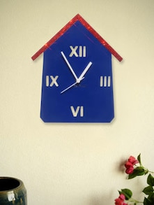 Red And Blue Hut Wall Clock - Zeeshaan