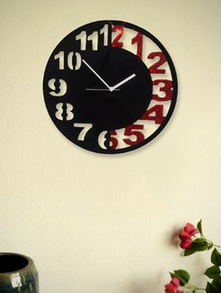 Red And Black Engraved  Wall Clock - Zeeshaan