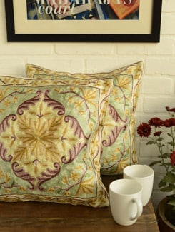 Ethnic Golden Yellow Cushion Covers - Set Of 2 - Kashmir Designer Atrs