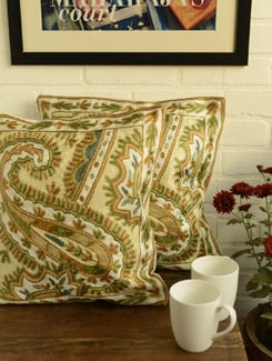 Multicolored Paisley Cushion Covers - Set Of 2 - Kashmir Designer Atrs