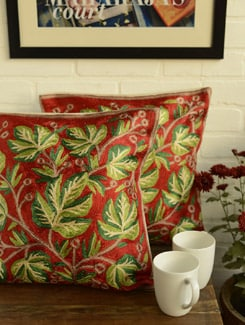 Ethnic Green & Red Cushion Covers - Set Of 2 - Kashmir Designer Atrs