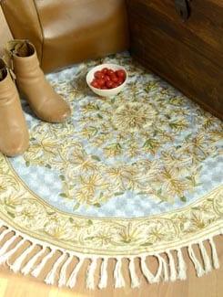 Chainstitch Silk Rug Round- Light Blue - Kashmir Designer Atrs