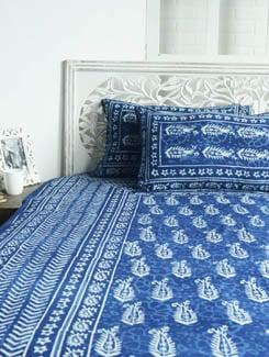 Block Printed Indigo Paisley Print Bed Sheet Set - Sakrip