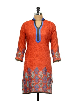 Bright Orange Printed Kurta - ARYA