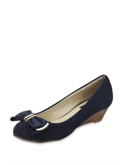 Bow Embellished Wedge Heel - Blue Button