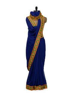 Elegant Royal Blue Georgette Saree - HERMOSEAR