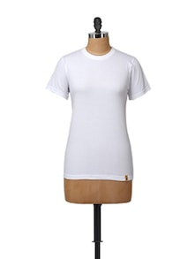 Basic White Round Neck Tee - Campus Sutra