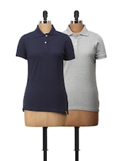 Combo Of Navy Blue And Grey Polo T-Shirts - Campus Sutra