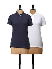 Set Of Polo T-Shirts In White And Navy Blue - Campus Sutra