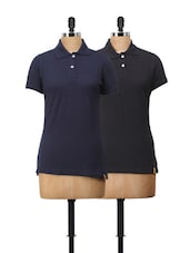 Polo T-Shirt Set In Black And Navy Blue - Campus Sutra