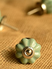 Ceramic Floral Pattern Green Knobs- Set Of 6 - Casa Decor