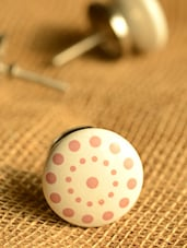 Pink Dotted Ceramic Knobs- Set Of 6 - Casa Decor