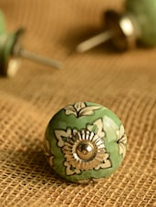 Green Floral Ceramic Knobs- Set Of 6 - Casa Decor