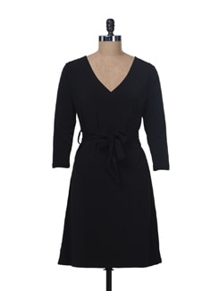 Black Front Wrap Dress - Color Cocktail