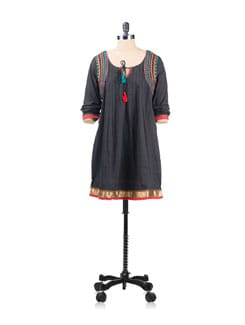 Black Tunic With Tribal Embroidery - EKAA